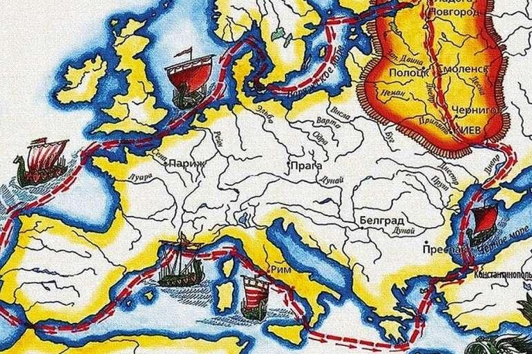 Где проходил торговый путь из варяг в греки